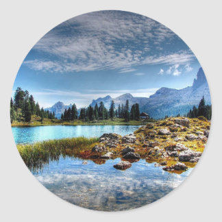 Beautiful Mountains Meadows Lake Scene Stickers