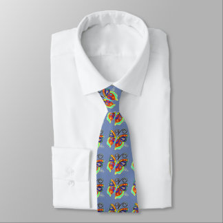 beautiful multi-colored butterflies blue tie