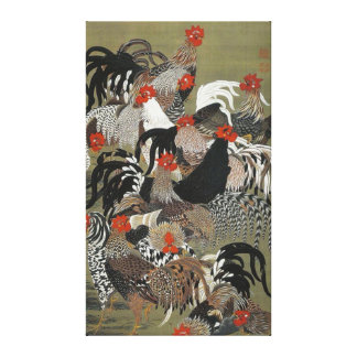 Beautiful Multi-colored Roosters Canvas Print