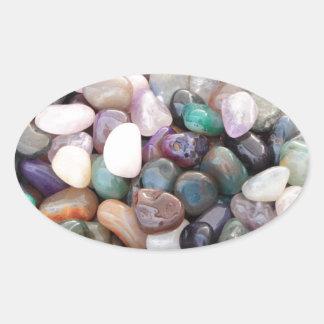 Beautiful Multicolor Stones Oval Sticker
