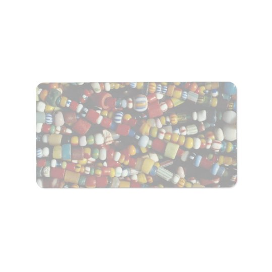 Beautiful Multicolored beads on strings Label