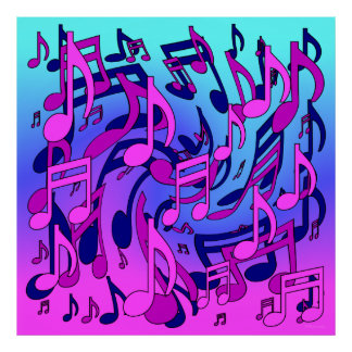 Beautiful Music Lively Musical Notes Expressive Poster