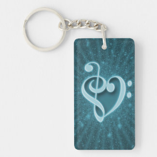Beautiful music notes put together as a heart key ring