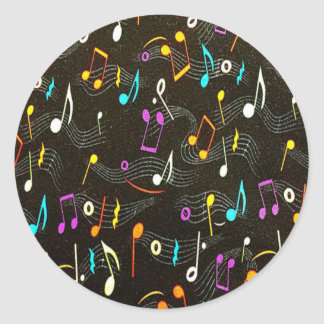 Beautiful Musical Notes Classic Round Sticker