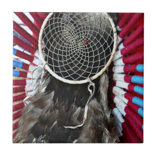 Beautiful Native American Dream Catcher Red Blue Small Square Tile