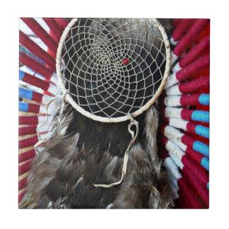 Beautiful Native American Dream Catcher Red Blue Small Square Tile