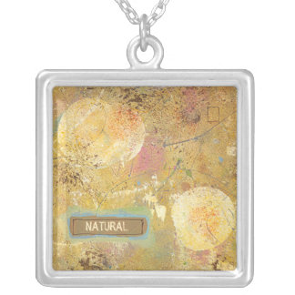 Beautiful natural fun abstract art unique painting silver plated necklace
