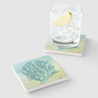 Beautiful Nautical Coastal Blue Coral Stone Coaster