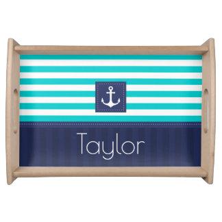 Beautiful Nautical Striped Anchor Custom Name Food Tray