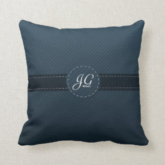 Beautiful Navy Blue Custom Monogram Throw Pillow