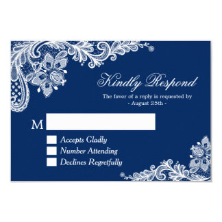Beautiful Navy Blue Lace Wedding RSVP Reply Card