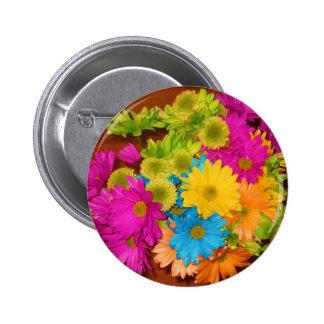 beautiful neon flower bouquet button