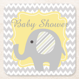 Beautiful Neutral Baby Shower Custom Cute Elephant Square Paper Coaster