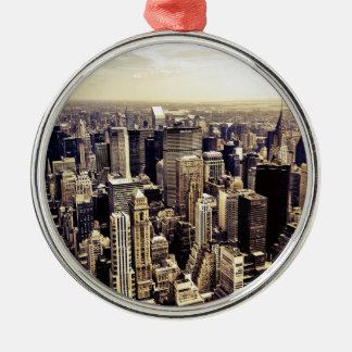 Beautiful New York City Skyscrapers Skyline Metal Ornament