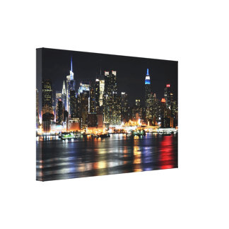 Beautiful New York Night Lights Reflecting River Canvas Print