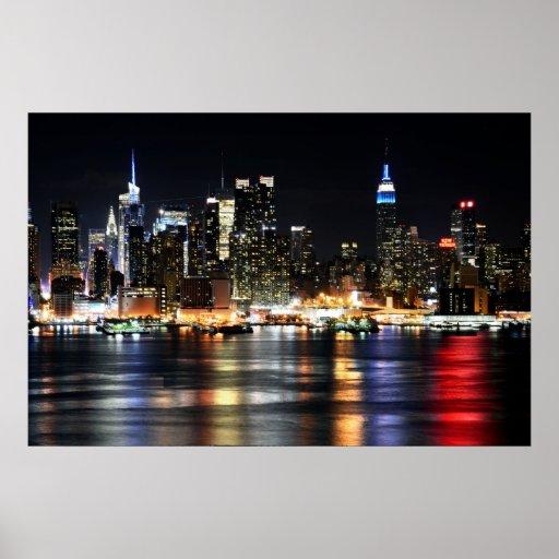 Beautiful New York Night Lights Reflecting River Posters