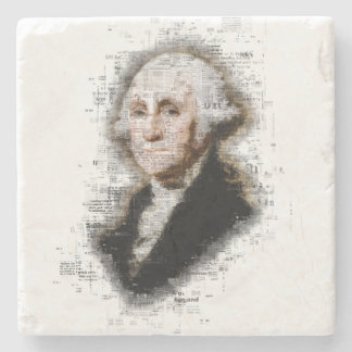 Beautiful Newsprint Portrait of George Washington Stone Coaster