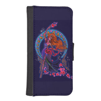 Beautiful night goddes fairy flies with moon iPhone SE/5/5s wallet case