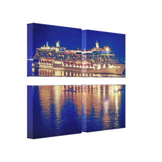 Beautiful Night Photography Cruise Water Reflectio Canvas Print
