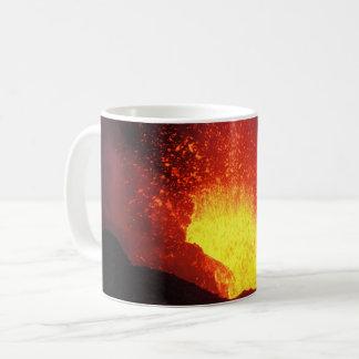 Beautiful night volcanic eruption coffee mug