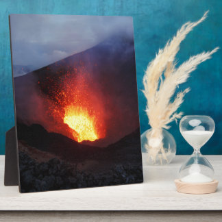 Beautiful night volcanic eruption plaque