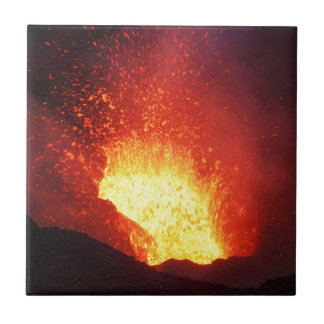 Beautiful night volcanic eruption tile