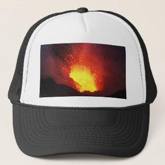 Beautiful night volcanic eruption trucker hat