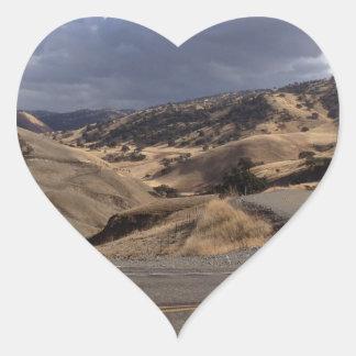 Beautiful Northern California Rolling Hills Heart Stickers