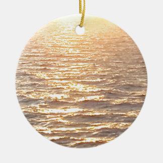 Beautiful Ocean Golden Hour Sunrise Round Ceramic Decoration