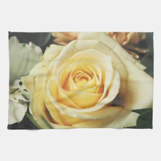 Beautiful Off White Cream Rose Hand Towel