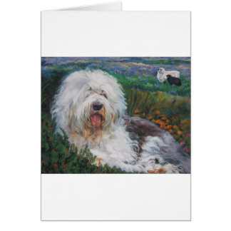 Beautiful Old English Sheepdog Dog Art Painting Card