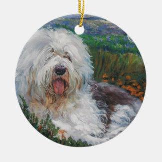 Beautiful Old English Sheepdog Dog Art Painting Ceramic Ornament
