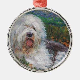 Beautiful Old English Sheepdog Dog Art Painting Metal Ornament