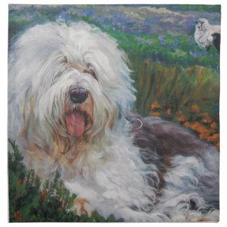 Beautiful Old English Sheepdog Dog Art Painting Napkin
