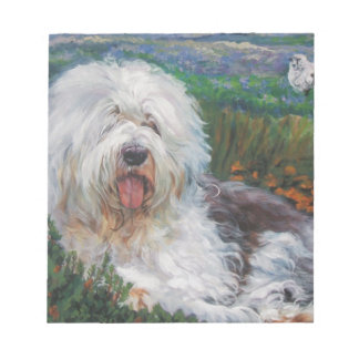 Beautiful Old English Sheepdog Dog Art Painting Notepad