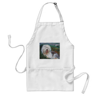 Beautiful Old English Sheepdog Dog Art Painting Standard Apron