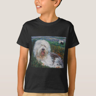 Beautiful Old English Sheepdog Dog Art Painting T-Shirt