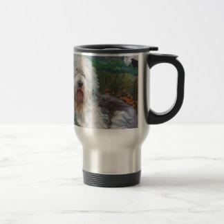 Beautiful Old English Sheepdog Dog Art Painting Travel Mug