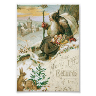 Beautiful old painting of Santa Claus Poster