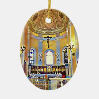 Beautiful Old San Juan Artistic Sanctuary Ceramic Oval Decoration