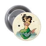 Beautiful Old School Mermaid Pinback Button