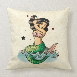 Beautiful Old School Mermaid Throw Pillow