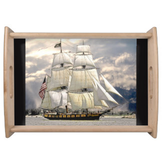 Beautiful Old Ship and Sails Nautical Serving Tray