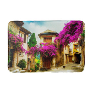 Beautiful Old Sunny Street With Purple Trees Bath Mat