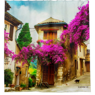 Beautiful Old Sunny Street With Purple Trees Shower Curtain