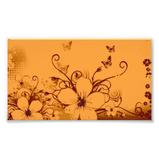 Beautiful orang Flowers Swirl abstract vectror art Photo Print