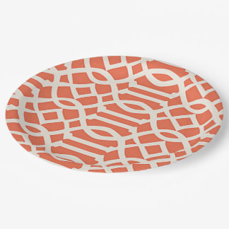 Beautiful Orange Abstract Pattern 9 Inch Paper Plate
