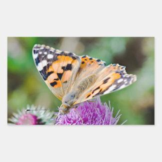 Beautiful Orange and Black Butterfly Rectangular Sticker