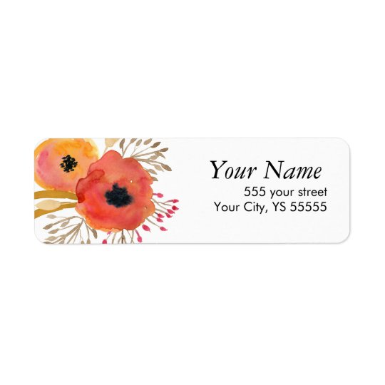 Beautiful Orange and Red Watercolor flowers Return Address Label