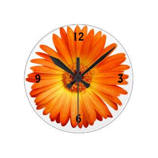 Beautiful Orange and Yellow Gerbera Daisy Wallclocks